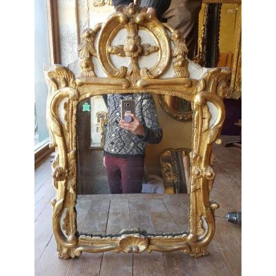Miroir En Bois Doré Et Laqué Louis XV 66x45cm