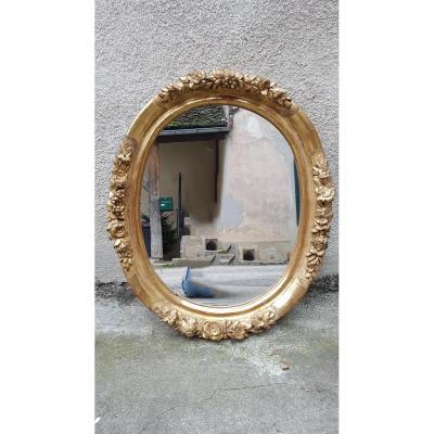 Miroir Oval En Bois Doré Sculpté XIXème 89x75cm