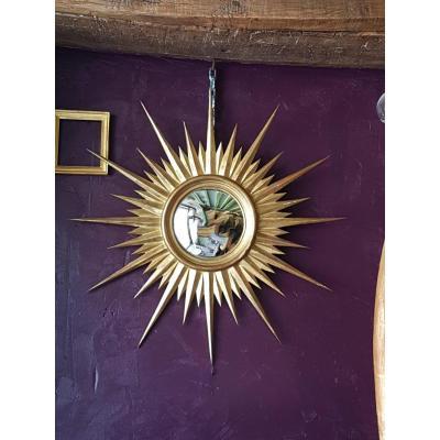 Miroir De Sorcière Forme Soleil en bois Doré 65cm