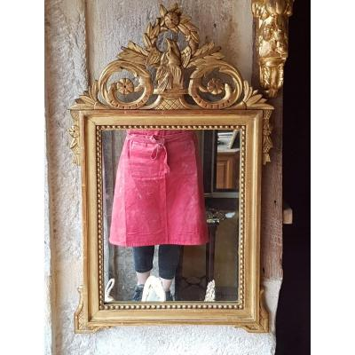 Miroir De Style Louis XVI En Bois Doré 70x42cm