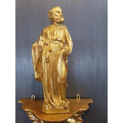 Statue En Bois Doré De Saint-pierre