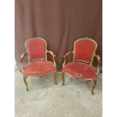"""Paire de fauteuil cabriolet époque Louis XV, estampillée """"BOSSON"""""""