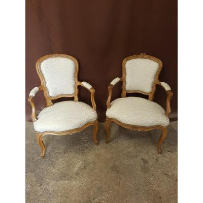 Pair Of Cabriolet Armchairs Louis XV