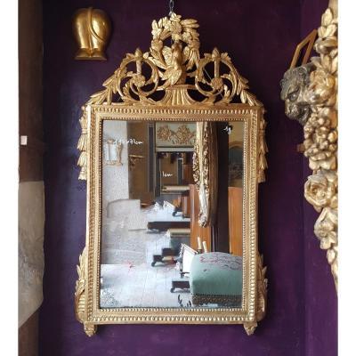 Miroir époque Louis XVI En Bois Doré 117x71cm