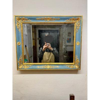 Miroir Empire Laqué Bleu Et Doré 63x52cm