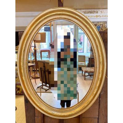 Miroir Oval En Bois Doré Napoléon III