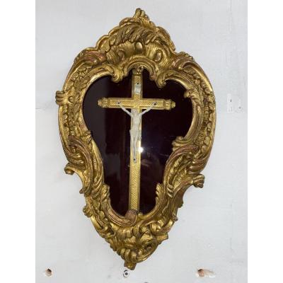 Cadre Reliquaire Crucifix En Bois Doré