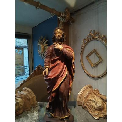 Statue Of A Saint In Polychrome Wood