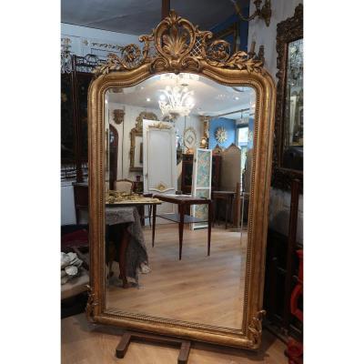 Napoleon III Golden Wood Mirror 190x113 Cm