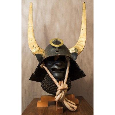 High-ranking Momonari Tobikuchi Kabuto From The Edo Era With Stand