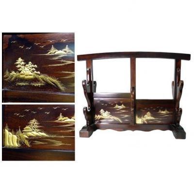 Magnifique et rare Katanakake support horizontal pour 4 Katana
