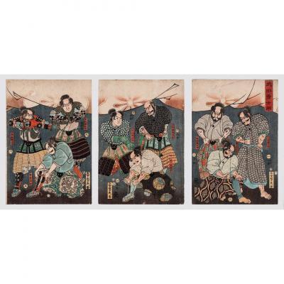 Estampe Japonaise, Très Rare Triptyque, Par Utagawa Gountei Sadahide  (1807-1879)