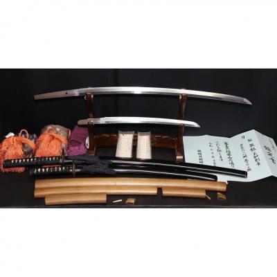 Véritable Daisho Koto De L'époque Muromachi Ayant Appartenu à Une Famille De Samouraï
