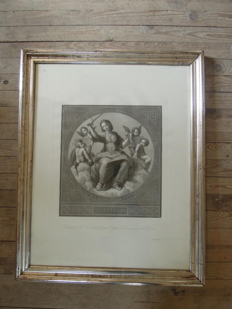 Gravure Cadre XIXème Or Blanc