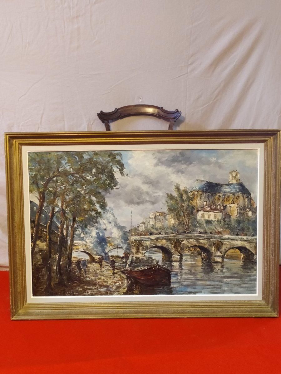 Le Pont Marie  Paris  Huile Sur Toile De Raymond Besse