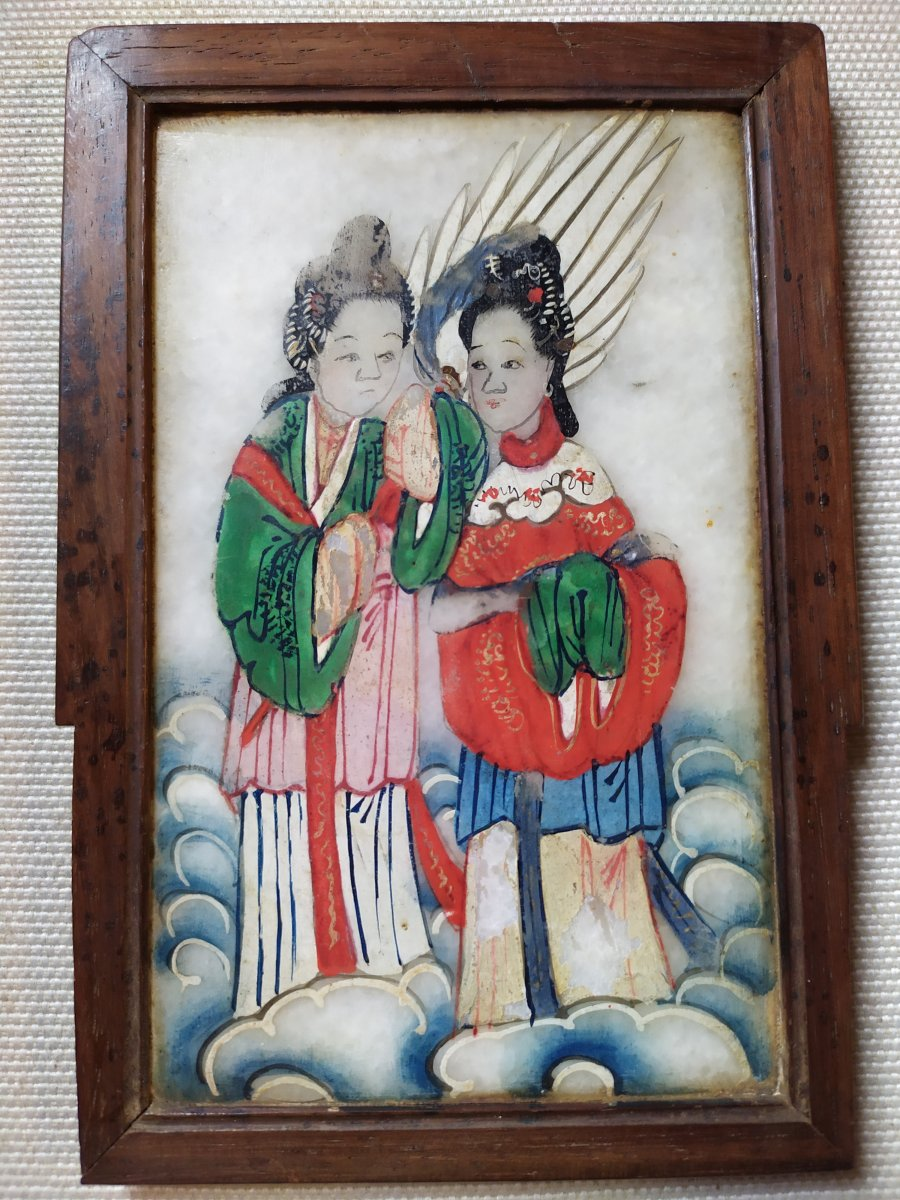 Chinese Painting On Alabaster XIXth