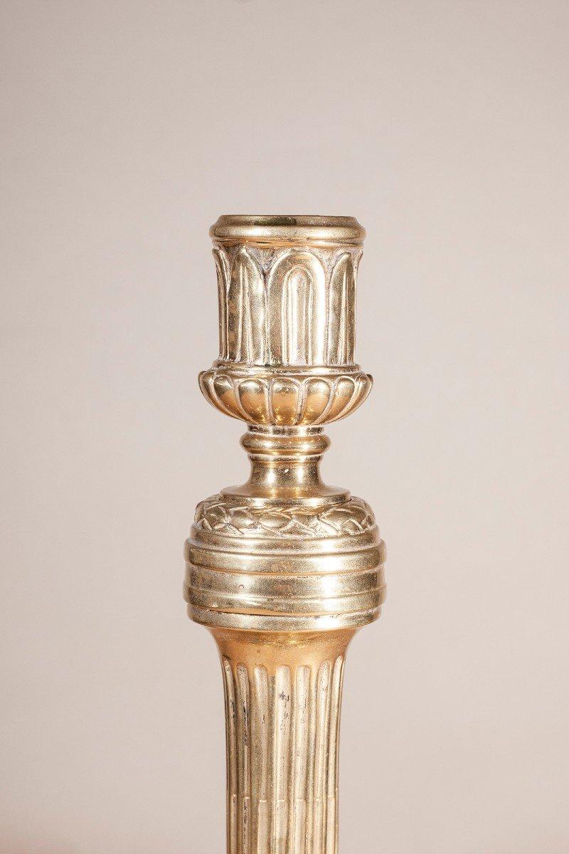 Paire De Flambeaux En Bronze XIX ème-photo-2