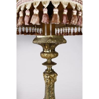 Grand Pique Candle In Brass Repousse Golden Nineteenth