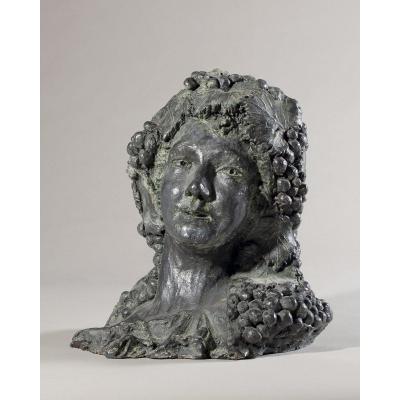 Sculpture En Terre cuite d'une Bacchante