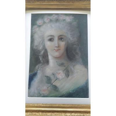 Pastel XIX ème Portrait à La Rose
