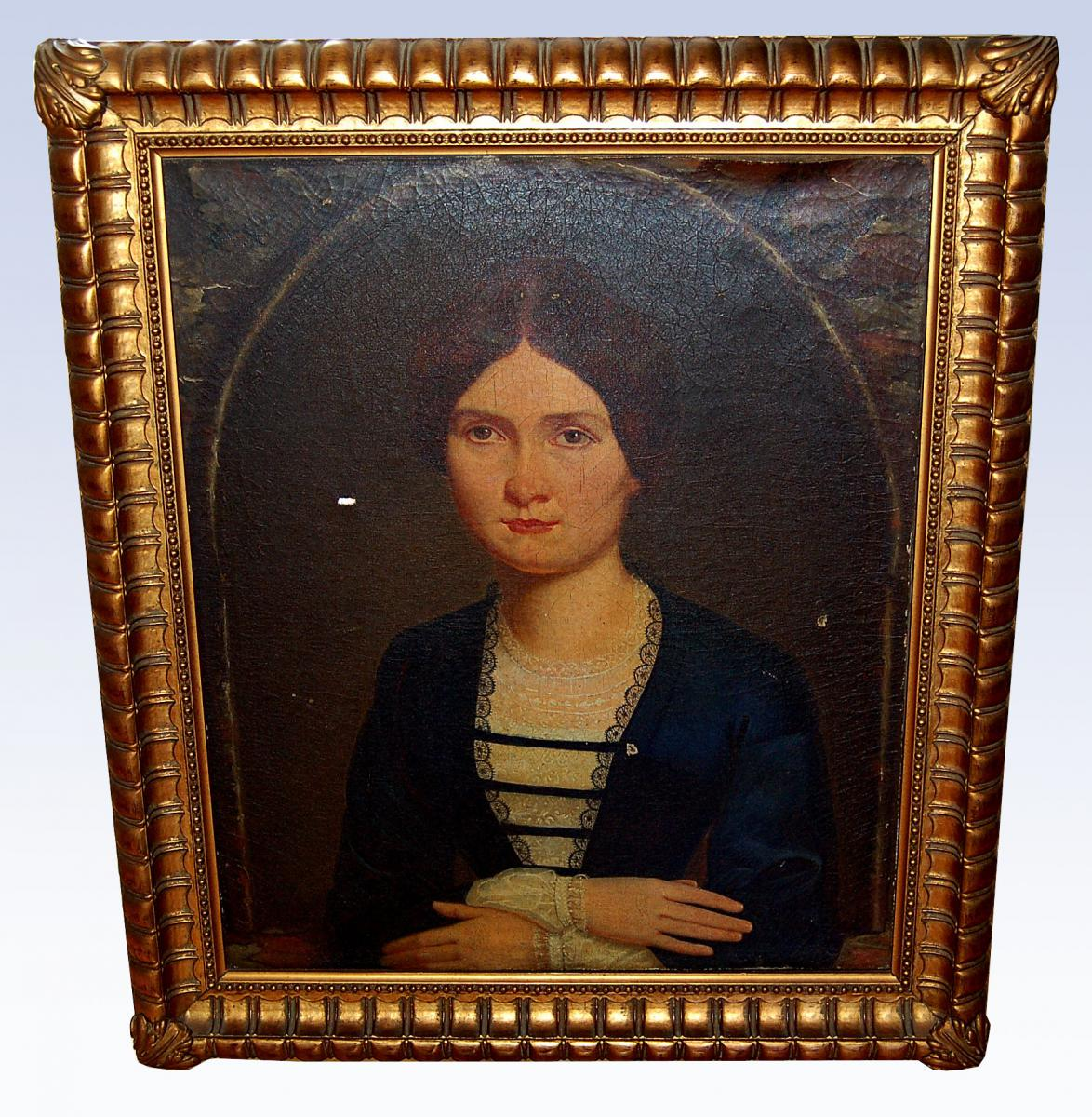 French Ecole Du XIX, Hst, Table, Portrait Of Woman