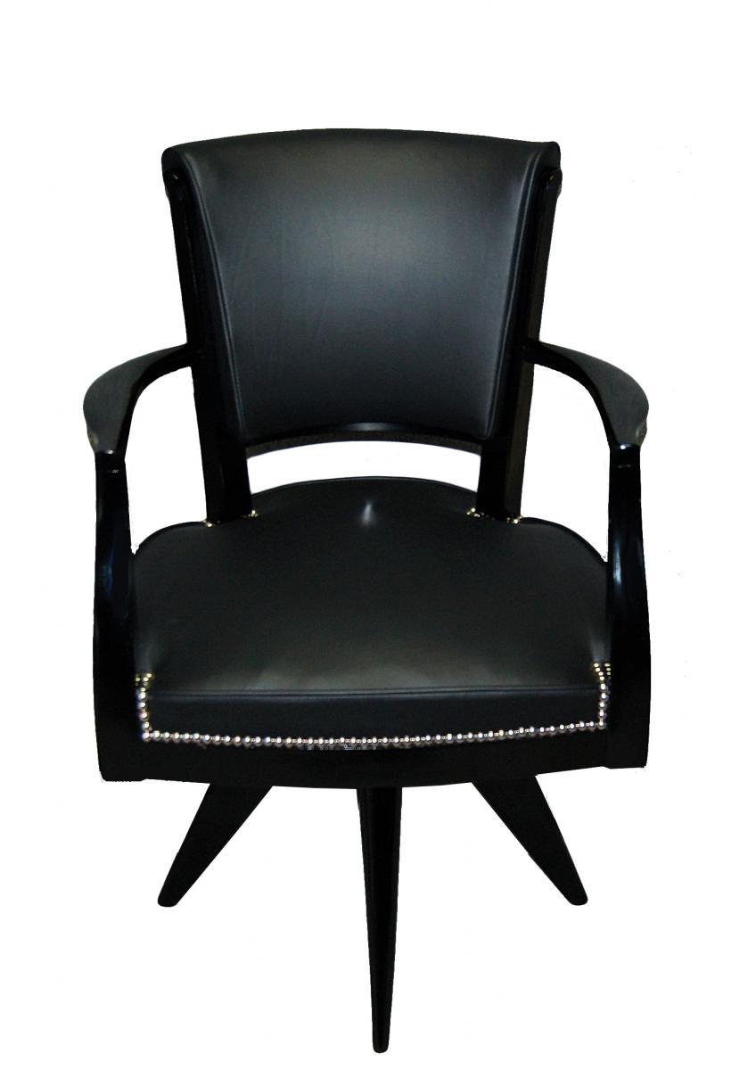 Fauteuil de bureau d 39 poque art d co cuir et bois laqu fauteuils - Fauteuil bois et cuir ...