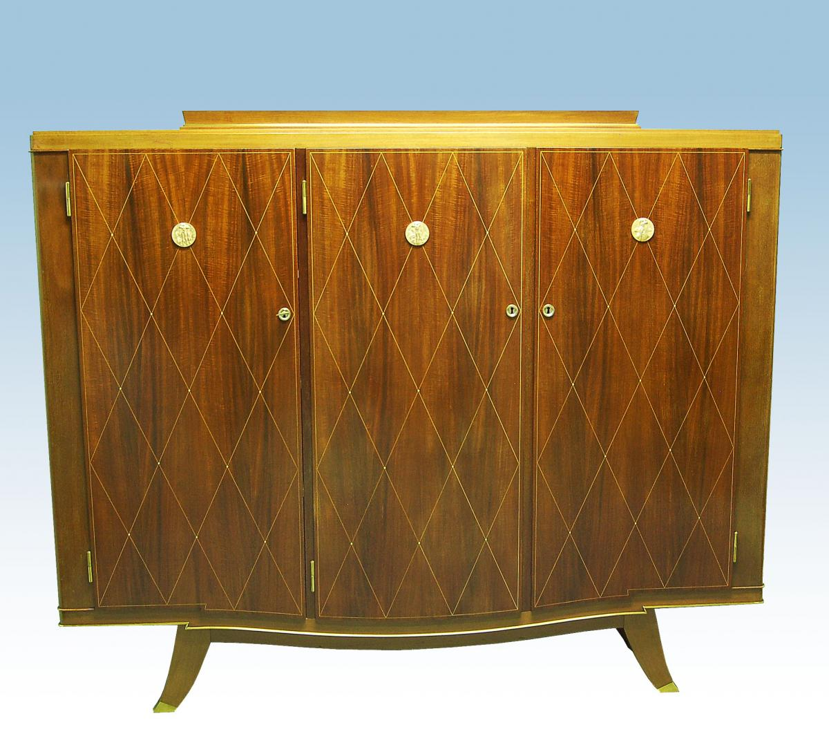 Art Deco Library In Mahogany Inlaid Signed Fournier Et Marcel Renard