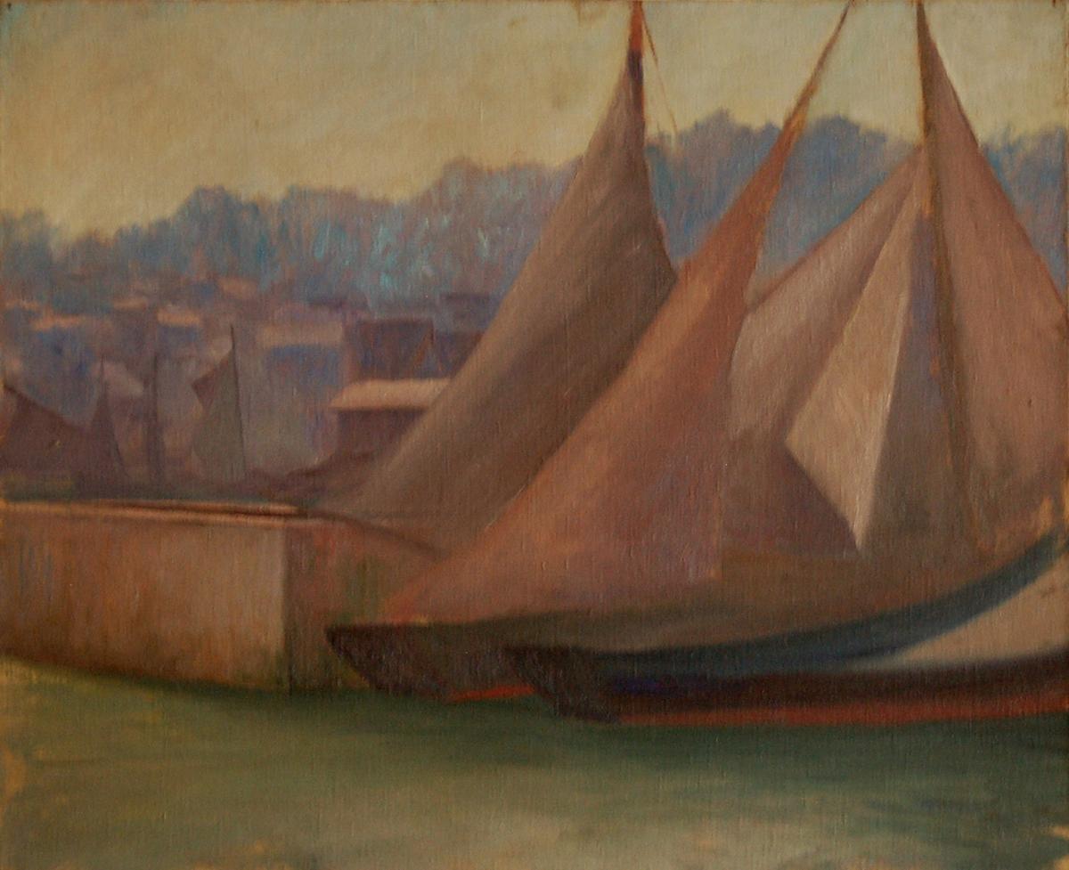 """Hst époque Art Déco """"voiliers Sur La Côte"""""""