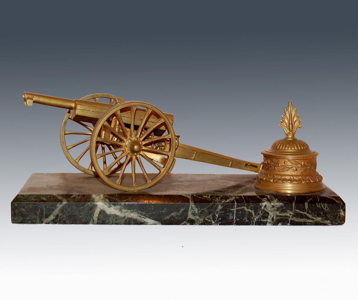 """Encrier """"au Canon"""" En Bronze Et Marbre"""