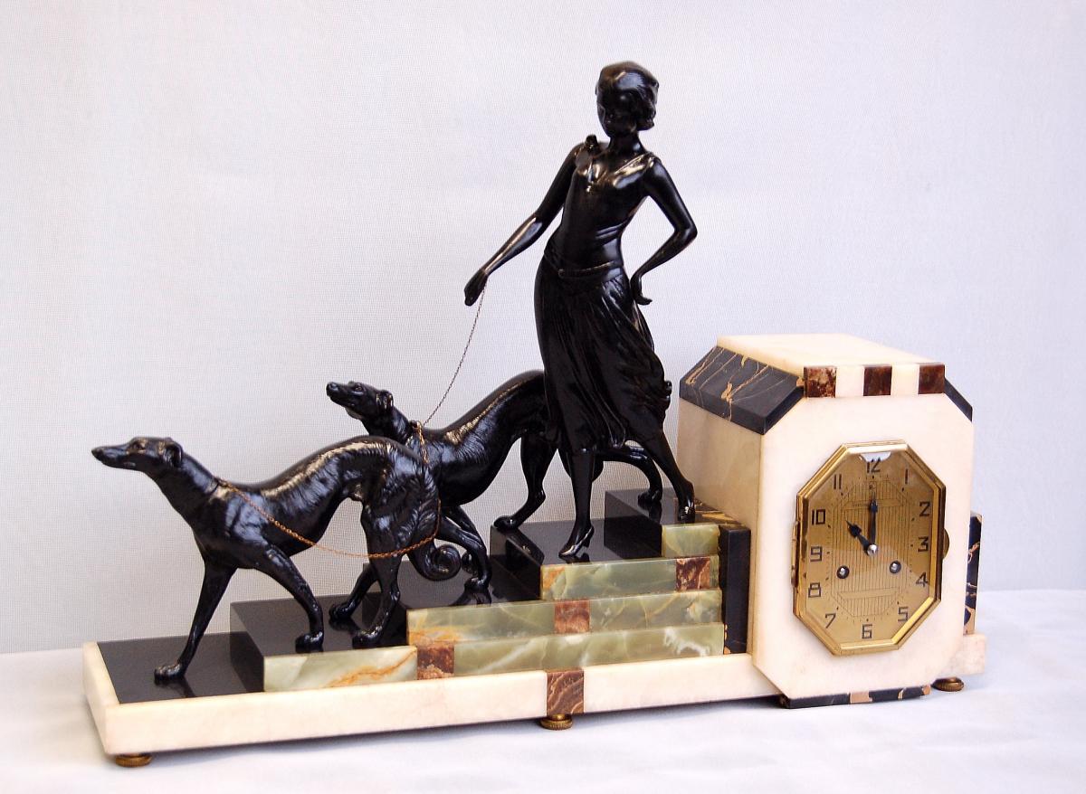 Louis Carvin Sculpture Pendule  D'époque Art Déco