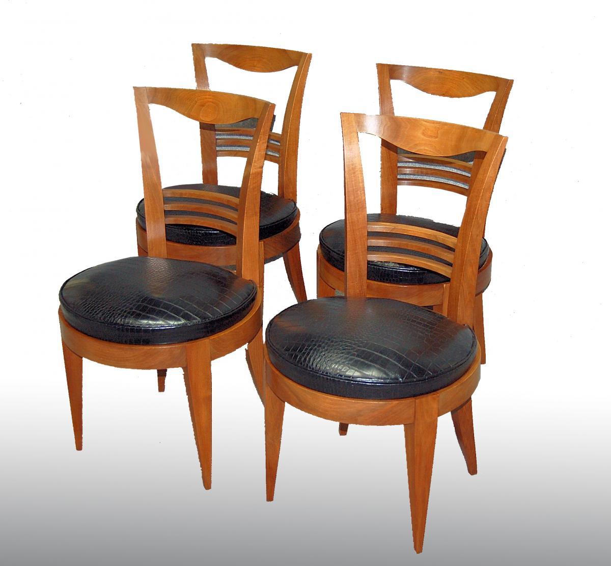 Chaises d'époque Art Déco Assises Circulaires Et Piétement En Gaine