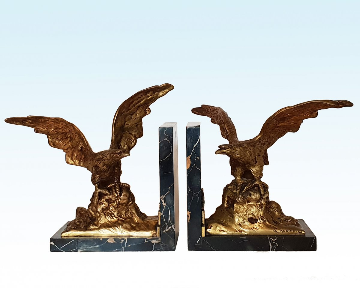 A. Marionnet (1952 -1910) Pair Of Important Bronze Bookends