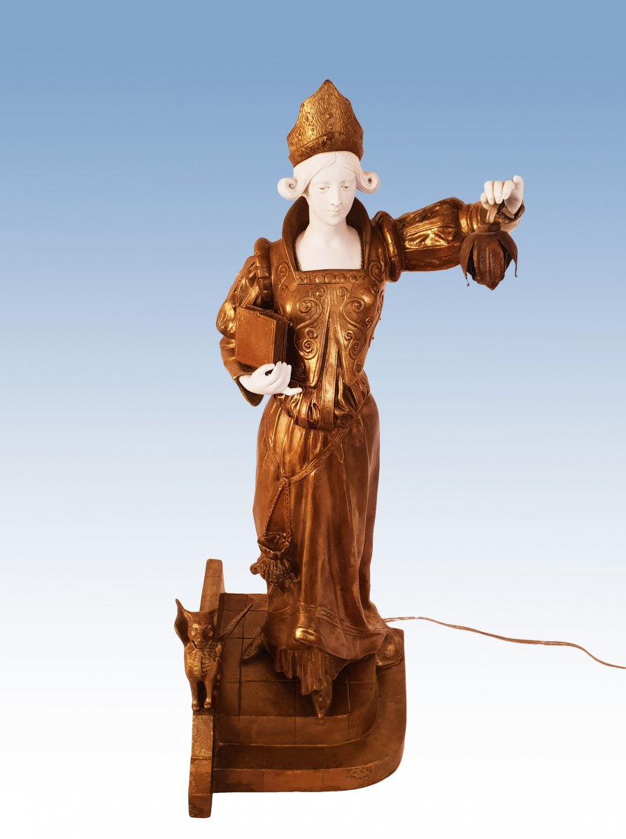 Great Sculpture Lamp 1900 Signed Ch Sanson