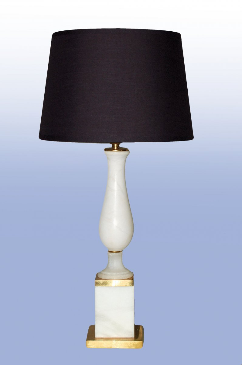 Lampe Néoclassique  En Albâtre Et Bronze Doré