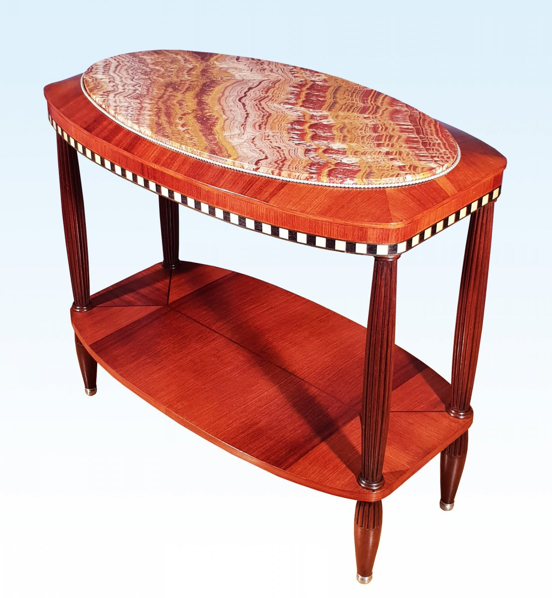 Art Deco Pedestal Table In Marquetry, Bronze And Onyx Fantastico