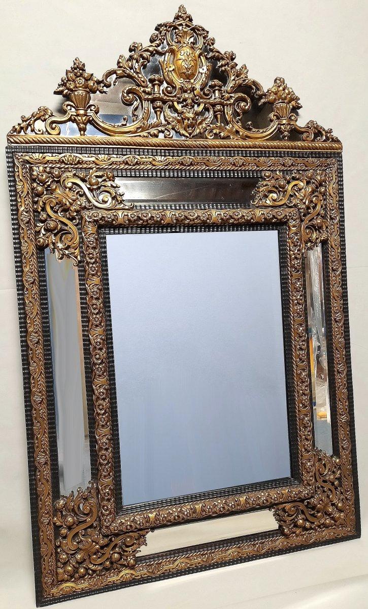 Important Miroir à Parecloses En ébène Et Laiton H 133 Cm Fin XIXe