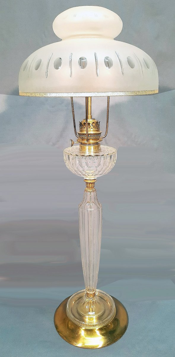 Important Lamp In Cut Crystal And Gilt Bronze Late Nineteenth Century H 91 Cm
