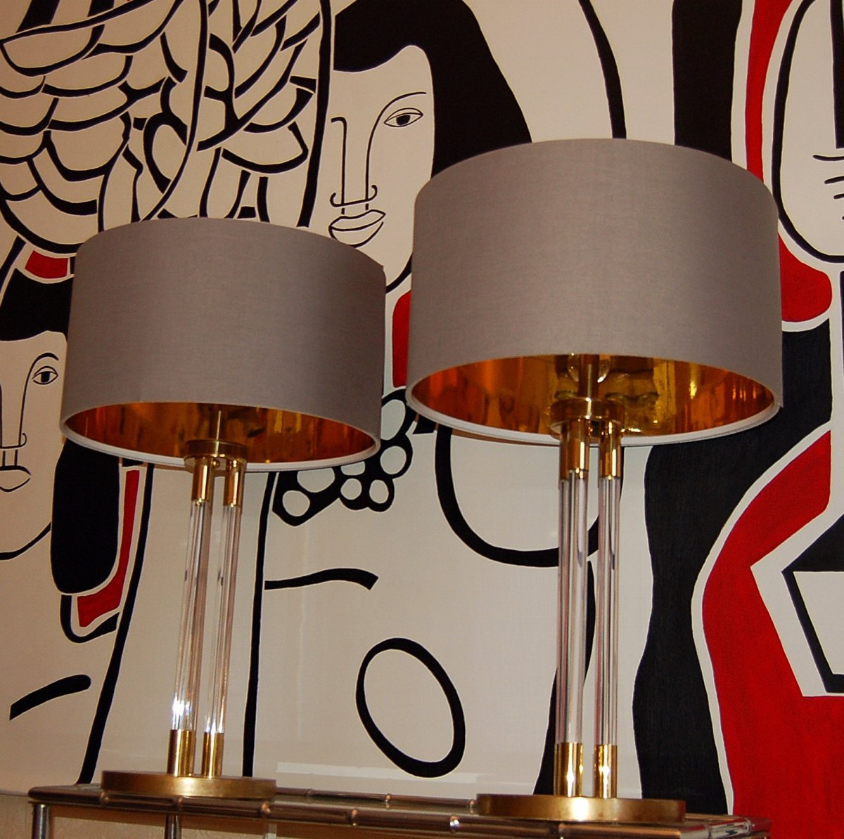Pair Of Large Lucite And Golden Brass Lamps Ht 83 Cm