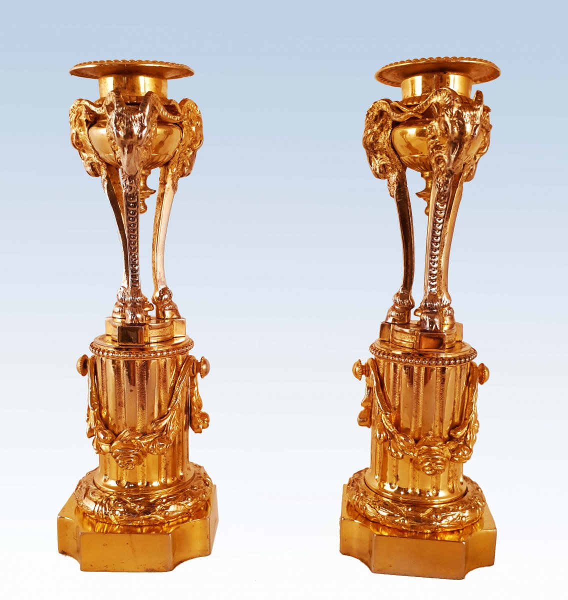 Pair Of Candlesticks In Athenian Gilt Bronze Nineteenth
