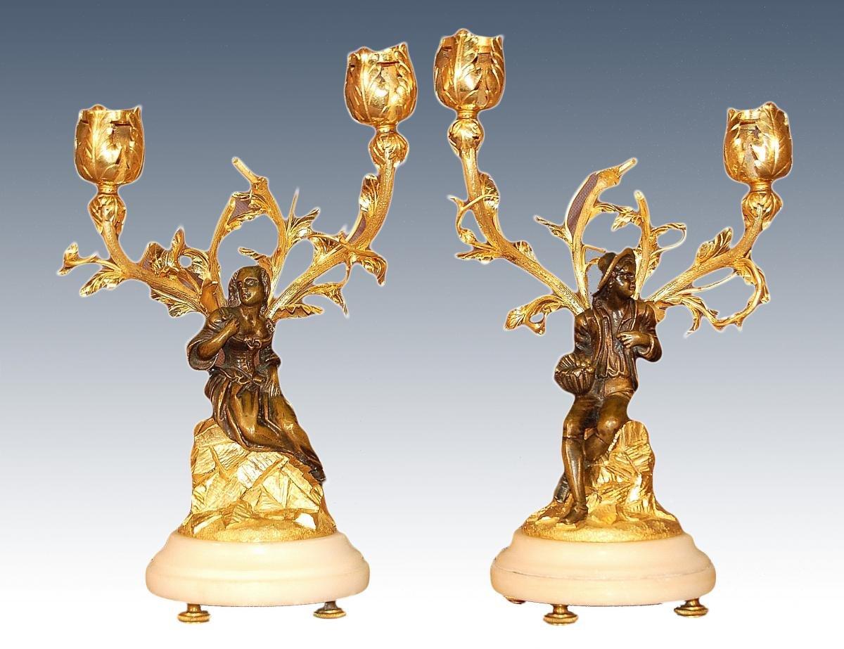 XVIIIe Siècle, Paire De Candélabres En Bronze Doré, Couple De Personnages