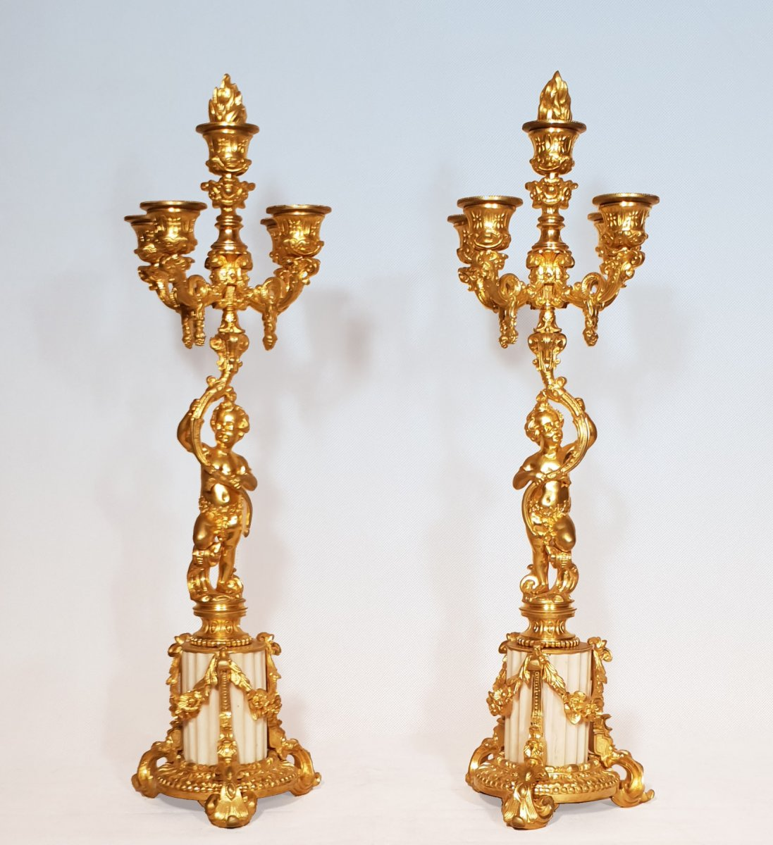 Pair Of Candelabra With Putti Gilt Bronze Ht 54 Cm