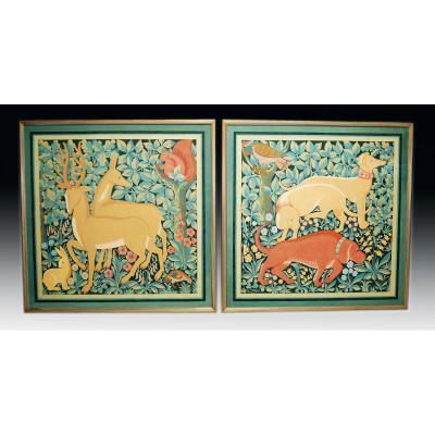 Importantes Peintures à La Détrempe 145x145 x2