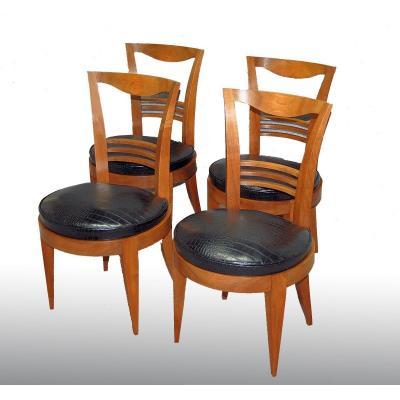 Chaises d'époque Art Déco Assises Circulaires