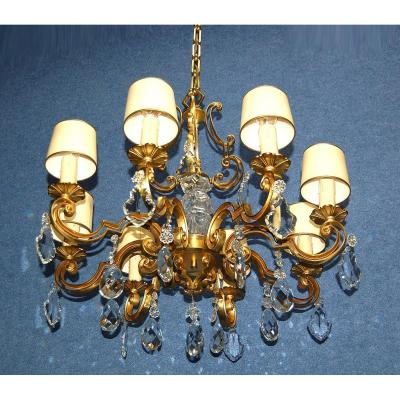 Important Chandelier Gilt Bronze And Crystal