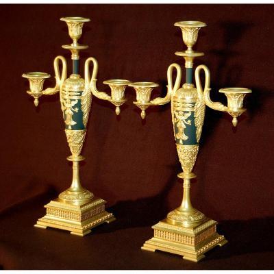 Candélabres Empire En Bronze Doré Et Ciselé