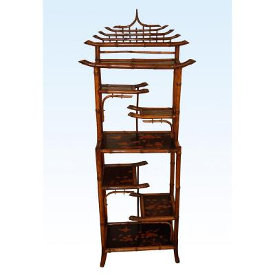 19th Century, Bamboo Bibus Shelf And Lacquer Panels