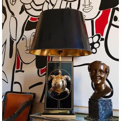 Importante Lampe 70's En Laque Et Bronze Maison Roméo Ht 87 Cm
