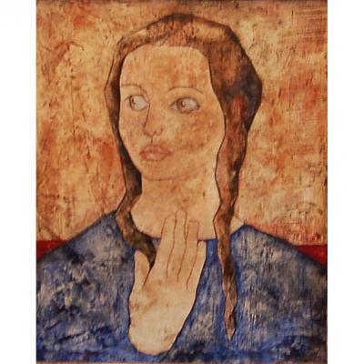 Edick Carrau, portrait école De Paris Vers 1950
