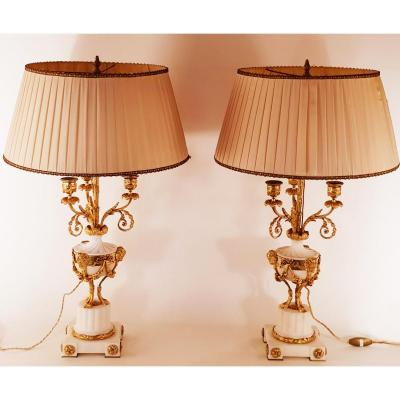 Great Pair Of Candelabra In Athenian Mounted In Lamps