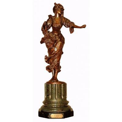 """""""L'été"""" Bronze  Sur Base En Marbre, Vers 1900"""